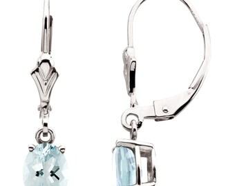 14K White Gold Aquamarine Leverback Earrings - Blue Aquamarine Gemstone Dangle Drop Earrings - 7 x 5mm Oval - March Birthstone, Gift For Her