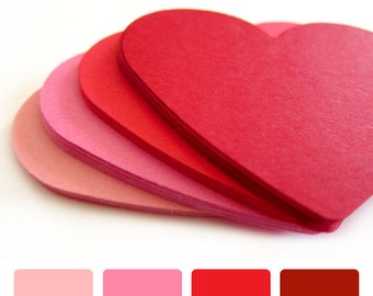 "Set of 20 - 2 1/2"" inches wide - Shades of RED - Large Hearts - Hand Punched Blank Cardstock - Die Cut Gift Hang Tags"