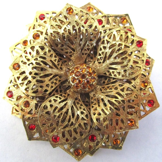 Beautiful JOAN RIVERS Amber & Orange Rhinestone Filigree Flower Vintage Brooch Pin