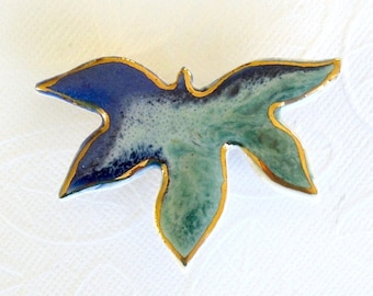 SALE! Maple Leaf Brooch. Aqua & Sapphire Blue. Porcelain. Blue-Green. 22K Gold Edge. Jade Green. Mint Green. Royal Blue. Ceramic. Statement