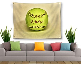 Softball Tapestry-Name on Softball-Tapestry with Grommets-Custom Wall Decor-Softball Wall Decor-Custom Sports Decor-Outdoor Tapestry