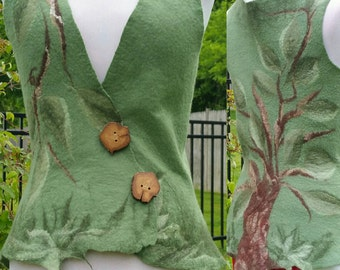 Felted Woodland Fairy Vest in Shades of Green. Elven Pixie Top. Tree of Life Vest. Festival Wear.  Asymmetric Pixie Waistcoat. Boho Top.