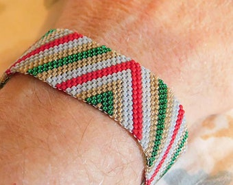 Red Silver Gold Green Peyote Stitch Geometric Cuff Handwoven Bracelet Gift Christmas