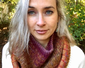 Hand Knitted Wool Blend Cowl in Warm Earth Tones by Rose Cottage Knitting