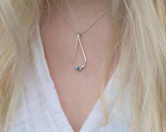 Blue Topaz Pendant | Silver Cubic Zirconia Pendant | Simple Silver Necklace | Peridot Necklace | Pebble Twist Pendant | Alison Moore Designs