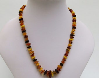 Vintage Natural Amber Graduated Necklace - Hand Knotted - Sterling Silver Clasp - Honey -  Butterscotch - Egg Yolk