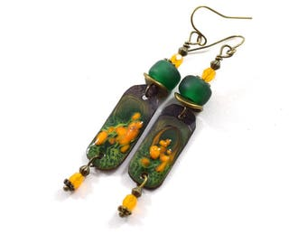 Handmade Earrings, Enameled Earrings, Dark Green Yellow and Orange Earrings, Brass Earrings, Boho Earrings, Artisan Earrings, AE163