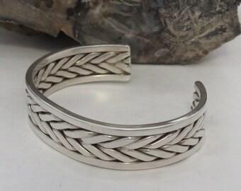 HEAVY man's sterling silver cuff bracelet, braided, woven, marked sterling, vintage, men's, 50.5 grams