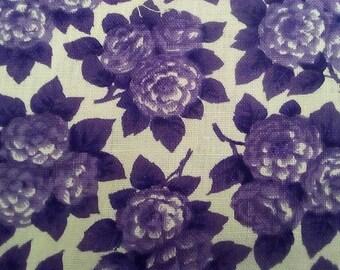 Vintage 1950's, 60's Purple Floral Linen? 3 yards