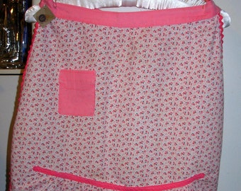 Apron Pink Apron with Pink and Purple Flowers Retro, Kitschy, Pin Up True Vintage REDUCED PRICE
