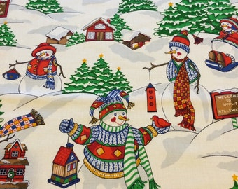 """100% cotton quilting fabric Christmas Spirit-snowman by Springs Industries 44"""" wide sold by the yard"""