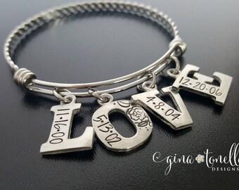 Personalized Love Bracelet, Bracelet With Kids Names, Mommy Bracelet, Personalized Mom Jewelry, Mothers Day Gift, Birthdate Bracelet, TW