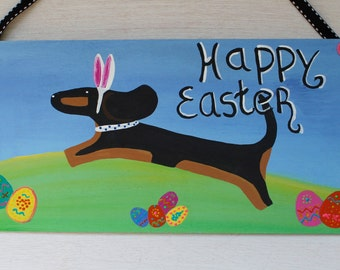 Dachshund Happy Easter Door Decoration Also Custom Dog Colors