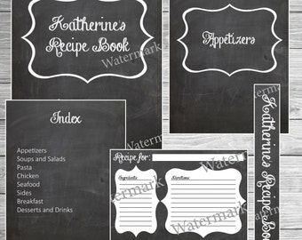 Recipe Book Binder Kit - Chalkboard - Printable (Custom)