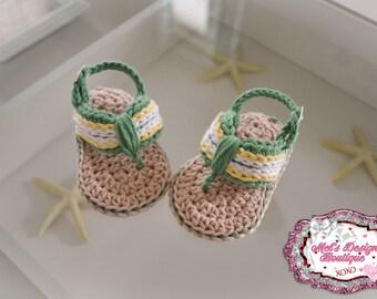 Baby sandals - baby crochet flip flops - crochet baby shoes - crochet sandals - baby shower gift - ready to ship - baby boys sandals -