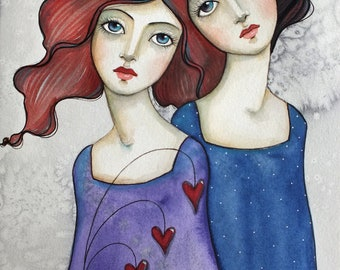 Two Girls Watercolor online class