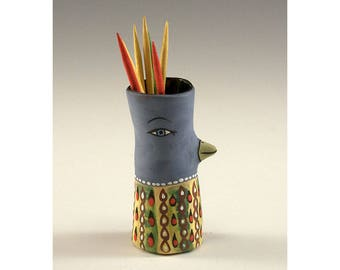 Geormina - Ceramic Bird Toothpick Holding Bud Vase by Jenny Mendes