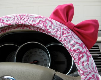 Steering Wheel Cover Bow, Hot Pink Floral Damask Steering Wheel Cover with Hot Pink Bow, Pink Damask Wheel Cover Pink Bow, Custom BF11266