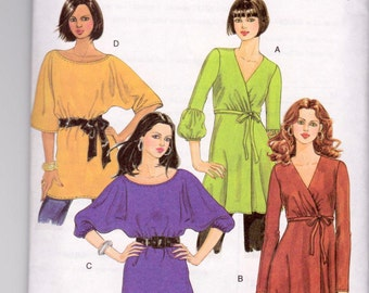Butterick 5248, uncut sewing pattern, knit tunic tops, misses' sizes XS to M
