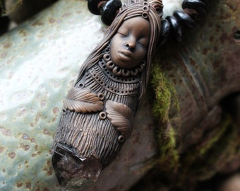 Goddess Necklace with Smoky Quartz Point. Handcrafted Clay & Gemstone Pendant.