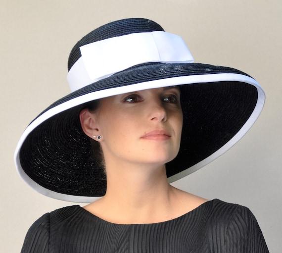 Ladies Black or Navy Hat, Black & White Hat, Navy and White Hat, Wedding Hat, Church Hat, Wide Brim Hat Audrey Hepburn Hat Formal Dressy Hat