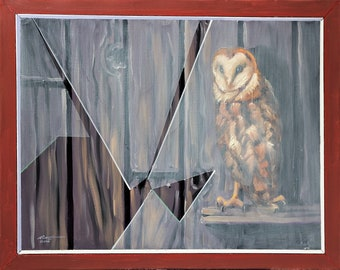 Barn Owl wildlife bird window 24x30 (61 x 76 cm) oils on canvas by artist RUSTY RUST / O-103