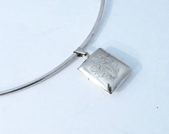 925 silver sterling Photo frame flower pendant