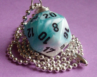 D20 Dice Pendant - Dungeons and Dragons - Gemini Teal with White - Geek Gamer DnD Role Playing RPG