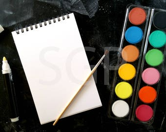 Sketchbook Watercolor Paint Chalkboard Stock Photography, Stock Photos Digital Download, Digital Paper, Scrapbook Journal Paper, Wall Art