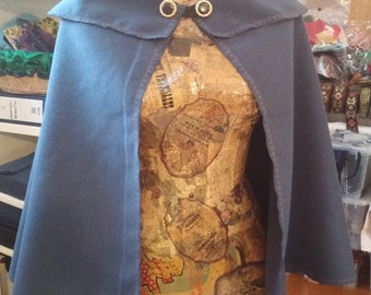 READY for SHIPPING powder Blue larp cape in fleeced fabric