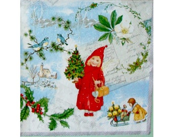 Set of 3 NOE126 cards postcards and children of old paper napkins