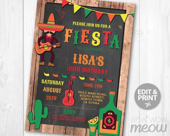 Fiesta Birthday Invitation Mexican Invite Instant Download