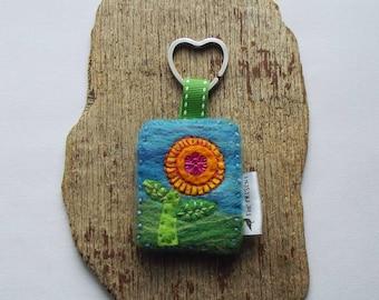 Flower Keychain, Keyring, Handmade, Felt, Keyfob, Key Holder, Bag Charm, Nature Keyring, OOAK