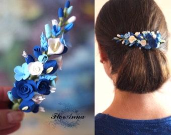 calla headband, roses barrette, hydrangea hairpiece, bridesmaids calla, bride calla, flower hairclip, bridal blue, navy blue headband