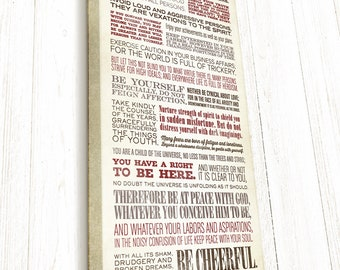 Desiderata, Desiderata Print, Hand-stretched Canvas on wood stretcher bars, READY TO HANG, Canvas Gallery Wrap, by Max Ehrmann
