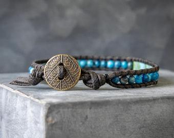 Mens Beaded Bracelet - Beaded Wrap Bracelet - Wrap Bracelet - Single Wrap Bracelet - Gemstone Wrap Bracelet - Mens Wrap Bracelet