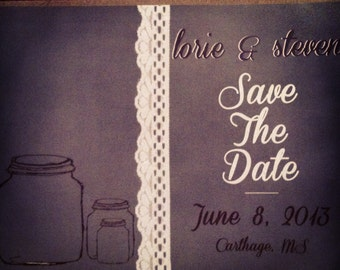 Save the Date Postcards with mason jars- 100