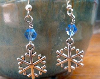 Silver Snowflake Dangle Earrings - Snowflake Earrings - Winter Earrings - Blue Snowflake Earrings - Winter Jewelry - Snowflake Jewelry