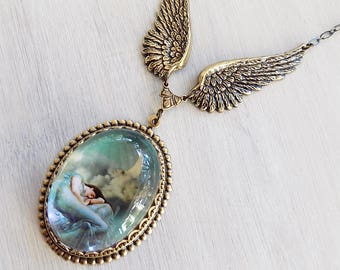Pre Raphaelite Necklace, Moon necklace, Wing necklace, Winged Pendant, Mint Green, boho necklace, afforadable gift, gift her, Tarot Moon