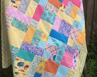 Summertime Lap Quilt Top - Unfinished / Sunnyside by Windham Fabrics / gift for her / ready to quilt / seahorse, yellow, teal, pink, blue