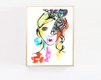 Watercolor Butterfly Girl, Watercolor Illustration, Fashion Print, Tween Girls Room, Rainbow, Home Decor, Girls Art