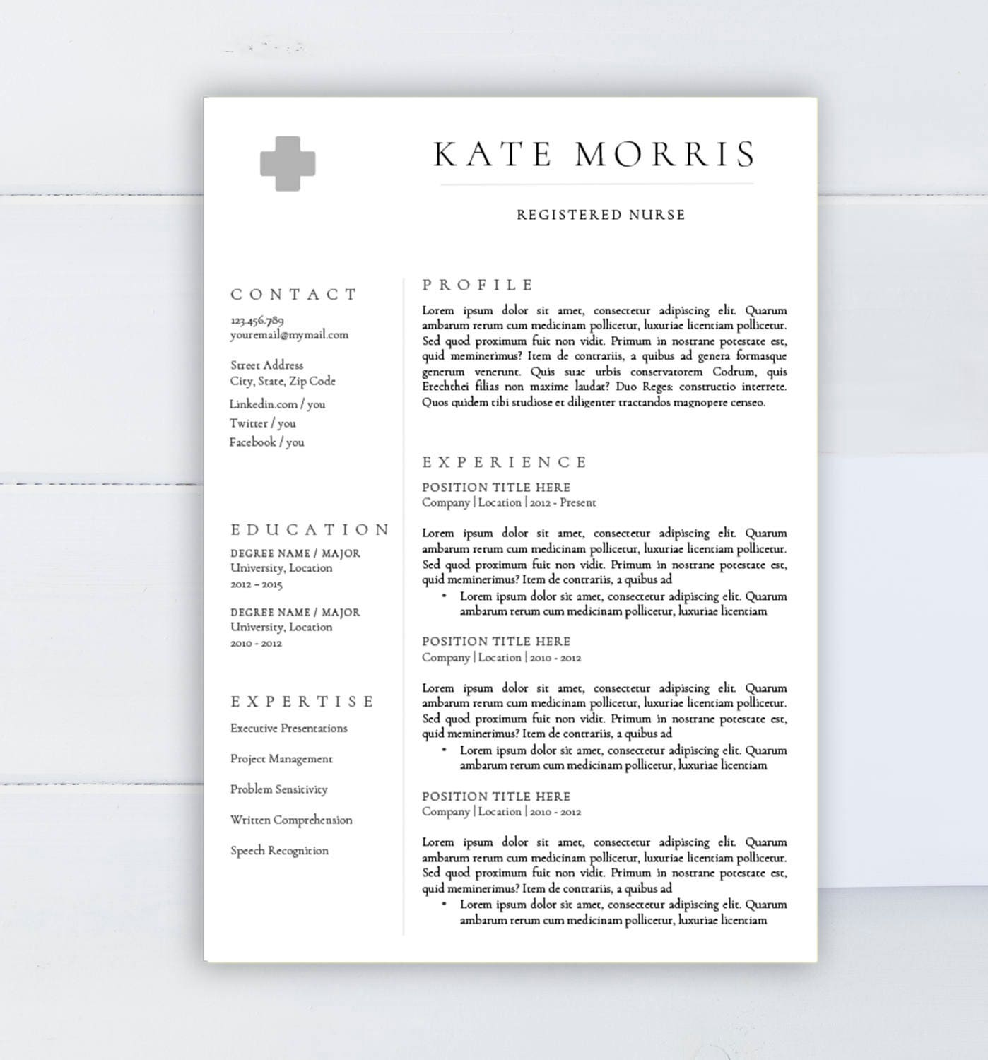 Resume Template Cv Template For Word Two Page Resume Cover: Medical Resume Template CV Template For Word Two Pages
