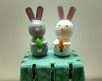 Little Wooden Rabbits - Wood Easter Bunny