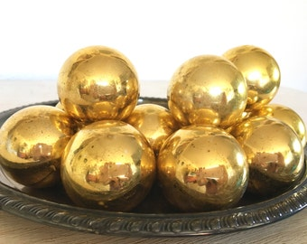 gold Christmas ornaments - vintage glass holiday balls - shabby cottage beach chic - hollywood regency - wreath garland tree supply