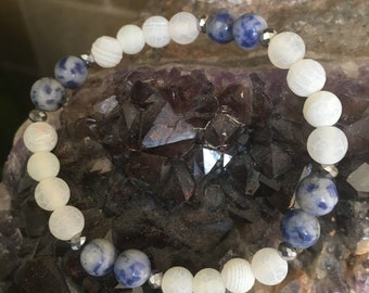 Frosted quartz & blue sodalite with swarovski cystals