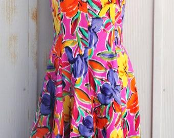Colorful Swing Dress - Vintage Halter Dress - 80s Does 50s Pin Up Dress - Pink Rockabilly Dress - Retro Lolita Floral Dress - Babydoll Dress