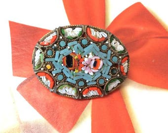 Vintage Millefiore Micromosaic Brooch.Made in Italy.