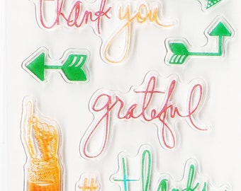 Thank You/Grateful/Arrow Planner stamps, bullet journal stamps, clear planner stamps, planner supplies, planner Icons, planner icon stamp