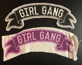 Girl Gang large banner back patch for your denim jacket sewn or unsewn diy accessory girls night out bridesmaids galentines bff best friends