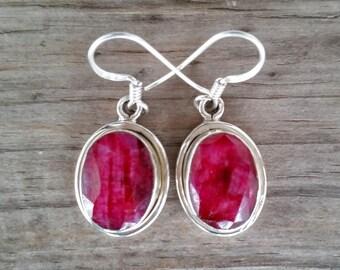 Ruby Earrings -Genuine Ruby Gemstone Earrings -July Birthstone Earrings -Sterling Silver Earrings -Ruby Jewelry - Dangle Earrings